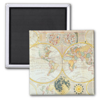 Antique Maps of the WorldDouble Hemisphere World Square Magnet