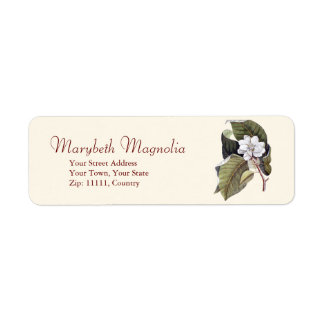 Antique Mark Catesby White Magnolia Engraving Return Address Label