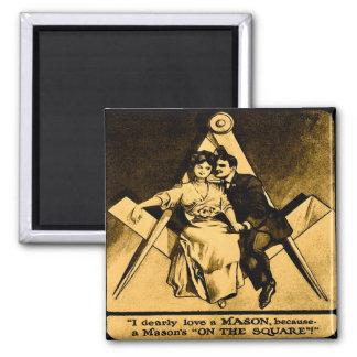 Antique Masonic Freemason Square Love Valentine Magnet