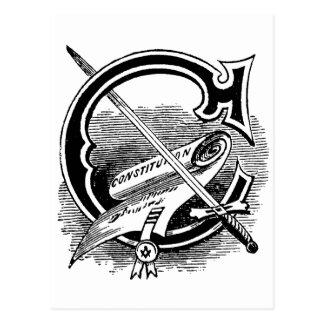 Antique Masonic Symbol Calligraphy Letter C Postcard