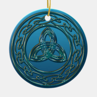 Antique Metal Celtic Trinity Knot In Blue Green Round Ceramic Ornament