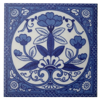 Antique Minton Hollins Blue Aesthetic Tile Repro