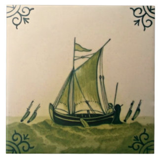 Antique Minton Hollins Delft Boat Tile #1 Repro