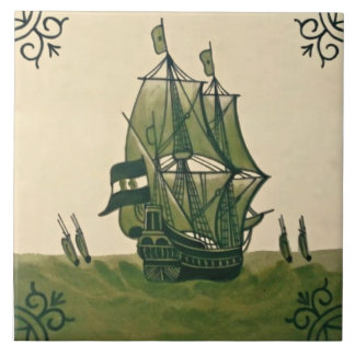 Antique Minton Hollins Delft Boat Tile #3 Repro