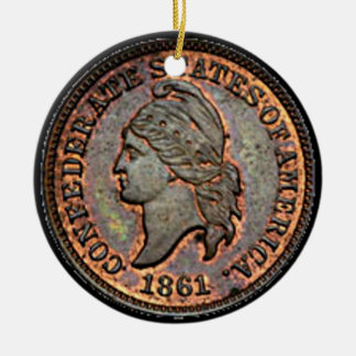 Antique Money 1861 Copper Confederate Penny Ceramic Ornament