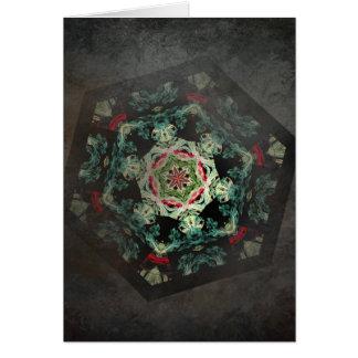 Antique mosaic kaleidoscope vertical card