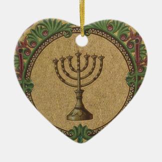 Antique Mosaic Temple Menorah Ceramic Heart Ornament