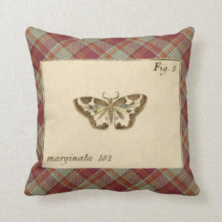 Antique Moth Print Red Tartan Plaid Throw Pillow