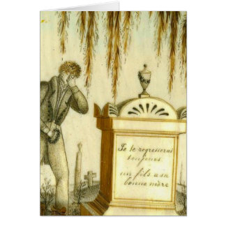 Antique Mourning Sympathy Loss Funeral Art Blank Greeting Card