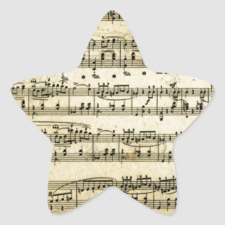 Antique Music Score Sheet Star Sticker