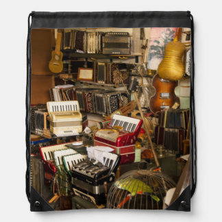 Antique Music Store Drawstring Bags