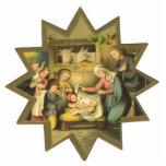 Antique Nativity Christmas Ornament Photo Sculpture Ornament