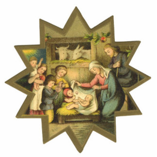 Antique Nativity Christmas Ornament Photo Sculpture Ornament