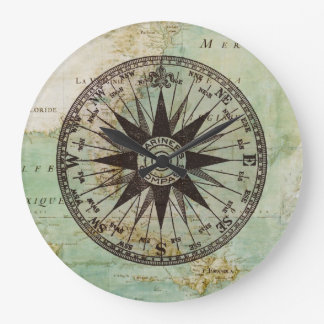 Antique Nautical Compass & Map Clock