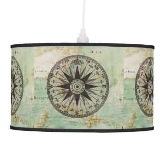 Antique Nautical Compass & Map Lamp Shade