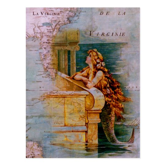 Antique Nautical Map & Mermaid Postcard