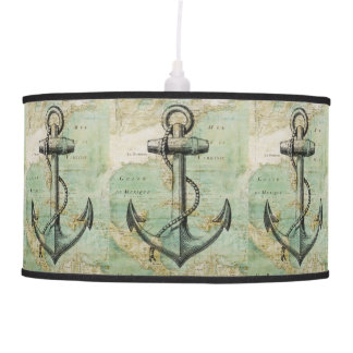 Antique Nautical Map with Anchor Pendant Lamp