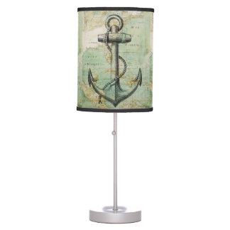 Antique Nautical Map with Anchor Table Lamp