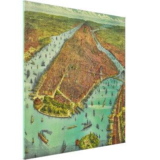 Antique New York City Bird's Eye View Map Canvas Print