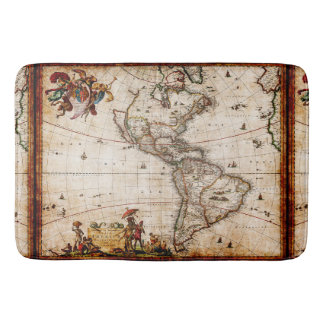 Antique North South America Map New World Vintage Bathroom Mat