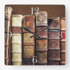 Antique Old Books Vintage Tomes Gift Square Wall Clock