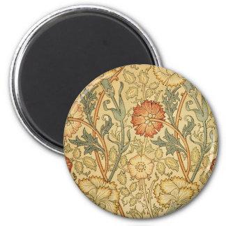Antique Old Floral Design 2 Inch Round Magnet