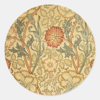 Antique Old Floral Design Round Sticker