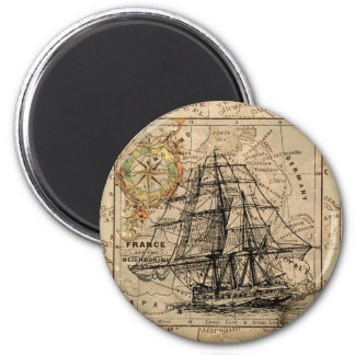 Antique Old General France Map & Ship 2 Inch Round Magnet
