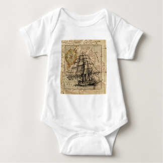 Antique Old General France Map & Ship Baby Bodysuit