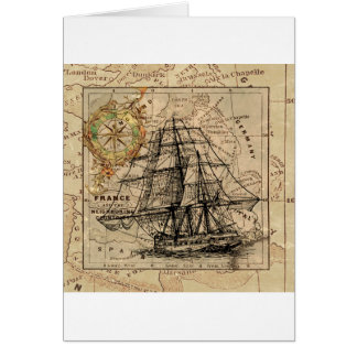 Antique Old General France Map & Ship Card