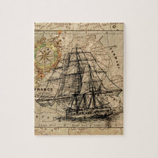 Antique Old General France Map & Ship Puzzles