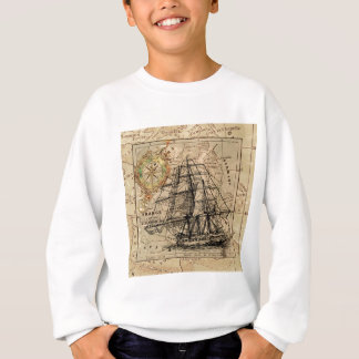 Antique Old General France Map & Ship Sweatshirt