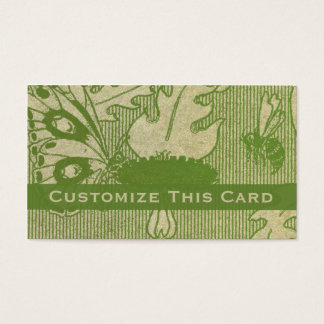 Antique Old Paper Green Stained Butterfly & Bee Business Card