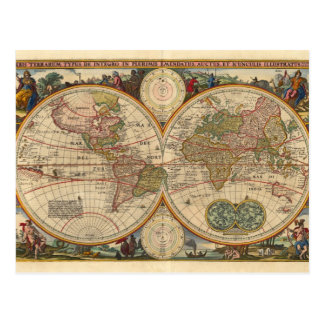 Antique old rare and historic world map postcard