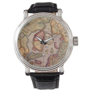 Antique Old World Map, Arctic North Pole, 1595 Wristwatches