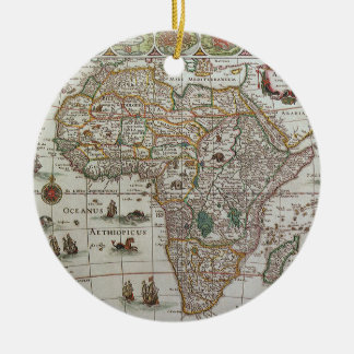 Antique Old World Map of Africa, c. 1635 Ceramic Ornament
