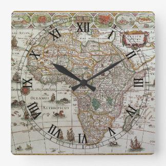 Antique Old World Map of Africa, c. 1635 Square Wall Clock