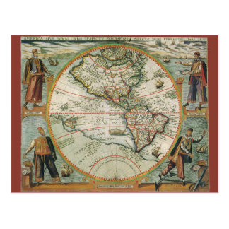 Antique Old World Map of the Americas, 1597 Postcard