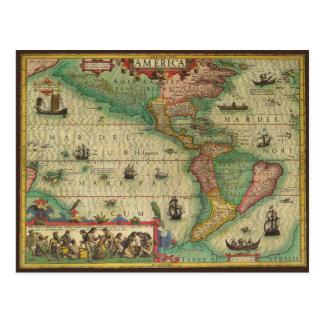 Antique Old World Map of the Americas, 1606 Post Card