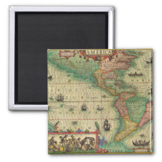 Antique Old World Map of the Americas, 1606 Square Magnet