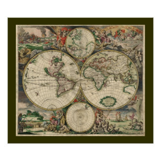 Antique Old World Map of the World Poster