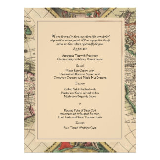 Antique Old World Map Wedding Menu