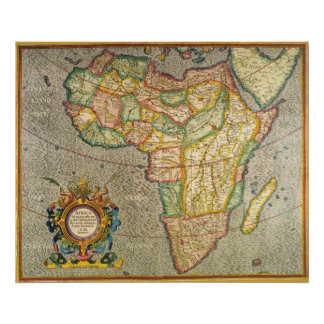 Antique Old World Mercator Map of Africa, 1633 Poster
