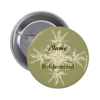 Antique Olive Floral Pinback Button