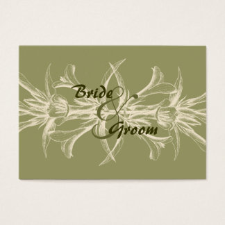 Antique Olive Floral Save the Date Business Card