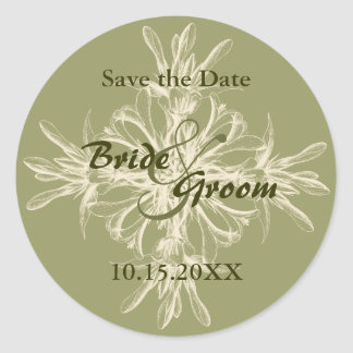 Antique Olive Save the Date Stickers