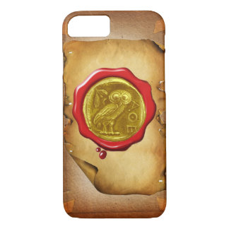 ANTIQUE OWL GOLD YELLOW RED WAX SEAL parchment iPhone 8/7 Case