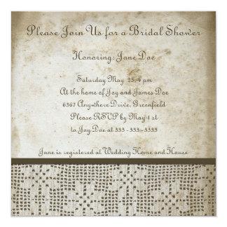 Antique Paper with Crochet Lace Invitation