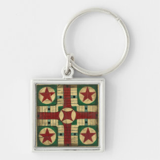 Antique Parcheesi Game Board by Ethan Harper Silver-Colored Square Keychain
