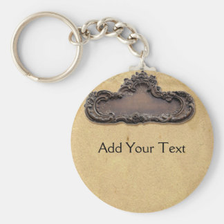 Antique Parchment and Brass Plaque Keychain